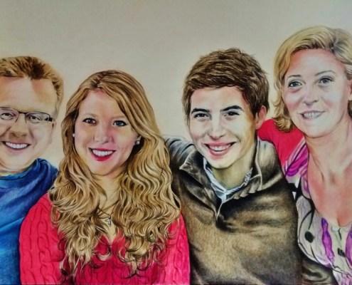 Portrait dessin d'après photo d'une famille en couleur