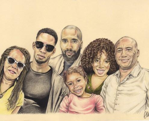 Portrait dessin d'après photo d'une famille nombreuse en couleur