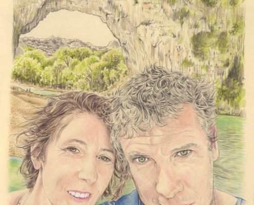 Portrait dessin d'après photo d'un couple en Ardèche