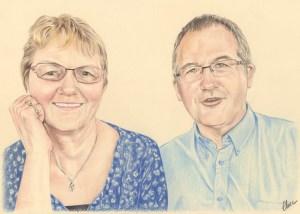 Portrait dessin d'après photo d'un couple soixantenaire souriant