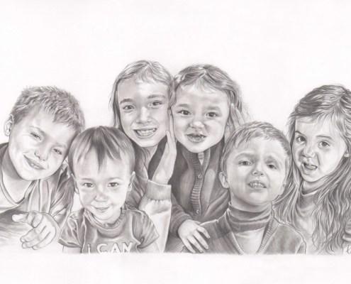 Commandez un portrait dessin de votre enfant ou b b d 39 apr s photo - Dessin groupe d enfants ...