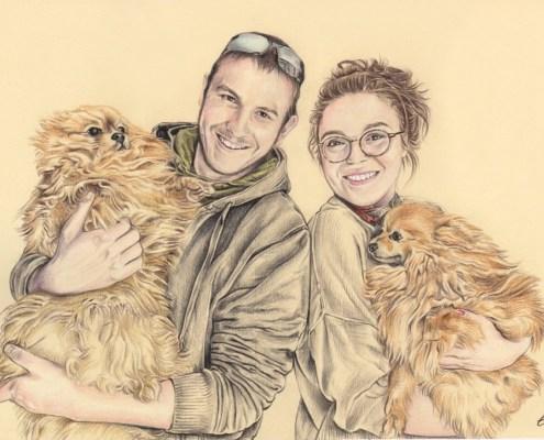 Portrait dessin d'après photo d'un jeune couple avec des chiens