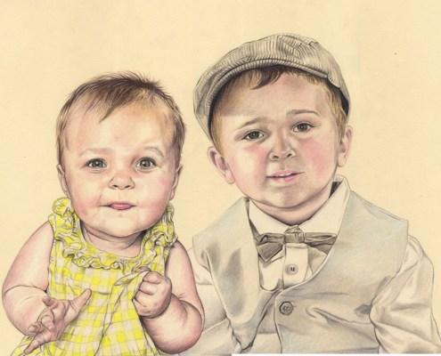 Portrait dessin d'après photo d'un petit garçon et sa petite sœur en couleur