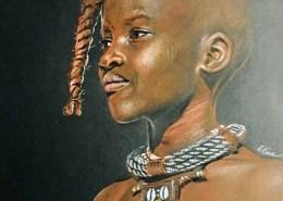 Portrait dessin d'une petite fille himba avec des tresses
