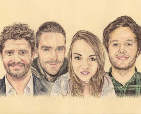 Portrait dessin d'un couple avec les stars Lizarazu et Vianney