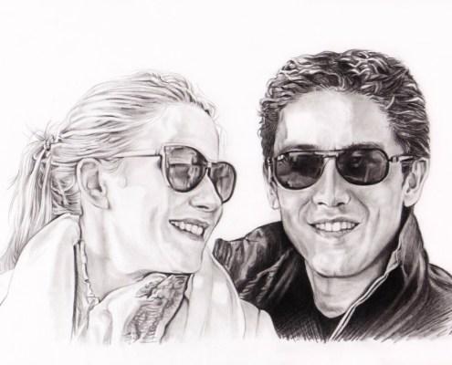 Portrait dessin d'après photo d'un couple avec des lunettes de soleil