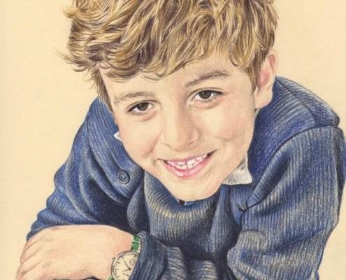 Portrait dessin d'après photo d'un petit garçon accoudé