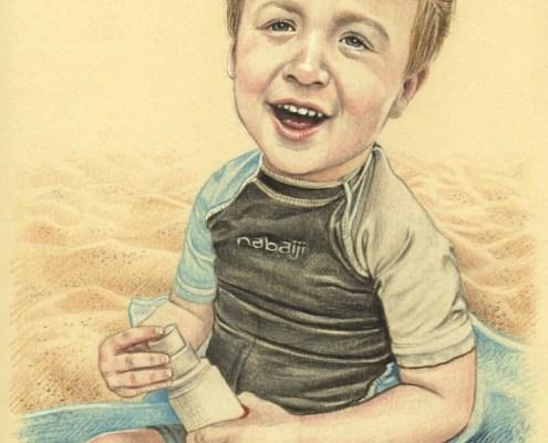 Portrait dessin d'après photo de vacances d'un petit garçon à la plage