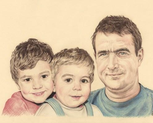 Portrait dessin d'après photo d'un père avec ses deux fils