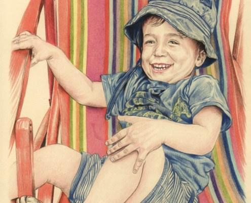 Portrait dessiné au crayon de couleur d'après la photo d'un enfant