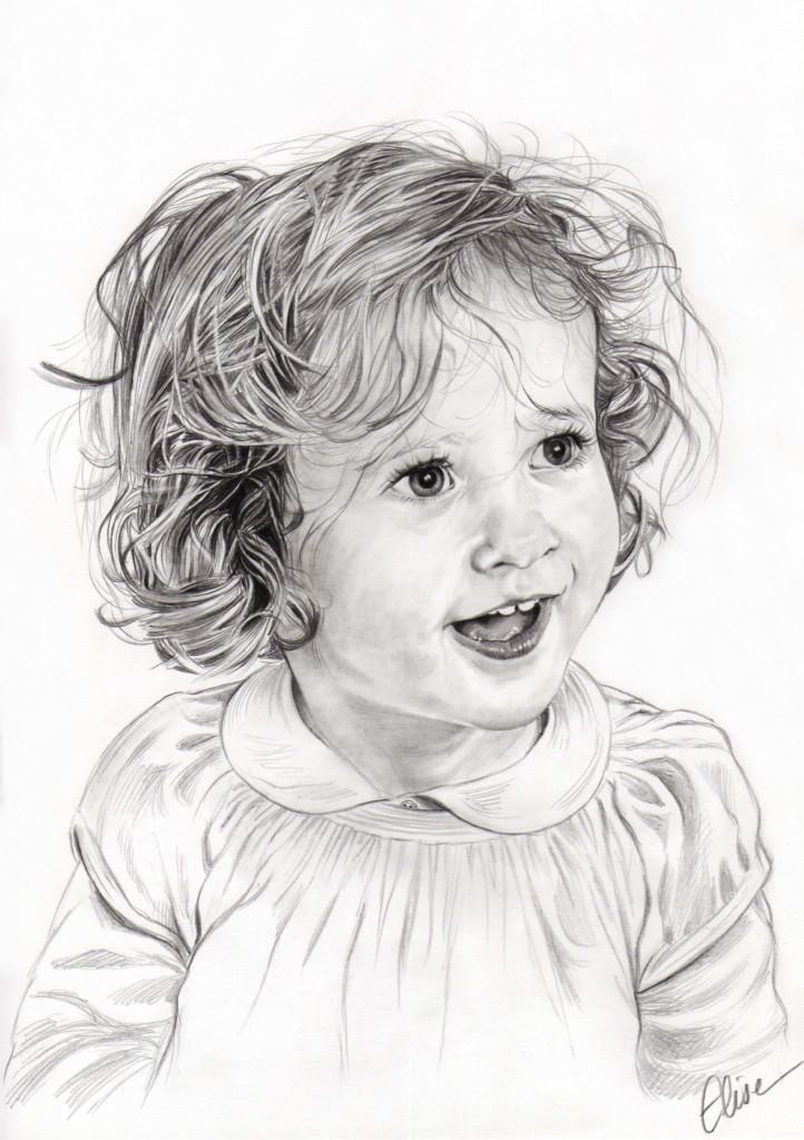 Portrait Dessin Daprès Photo Dune Petite Fille Aux Cheveux