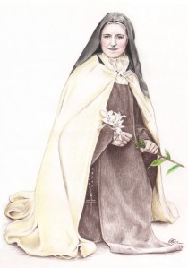 Dessin portrait d'après une photo ancienne de Sainte Thérèse religieuse