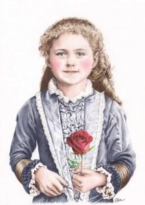 Portrait dessin d'après photo de Sainte Thérèse enfant