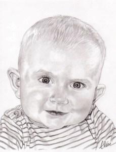 Portrait dessin d'après la photo d'un bébé en noir et blanc