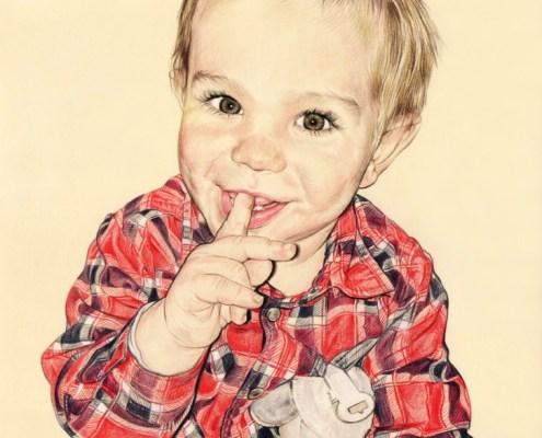 Portrait dessin d'après la photo de baptême d'un petit garçon