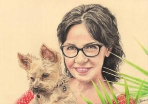 Portrait dessin d'après photo d'un chien yorkshire avec sa maîtresse