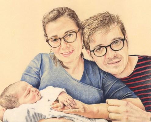 Portrait dessin d'après photo d'un jeune couple avec leur bébé en couleur