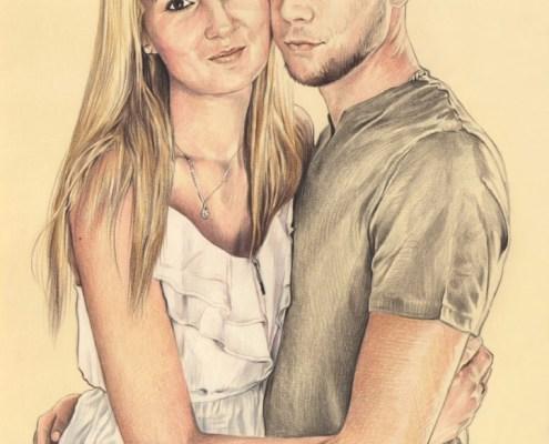 Portrait dessin d'après photo d'un jeune couple enlacé en couleur
