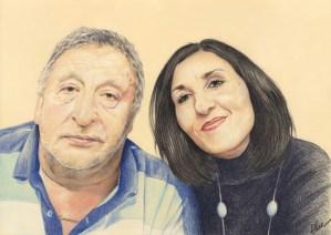 Portrait dessin d'après photo d'un père et sa fille en couleur