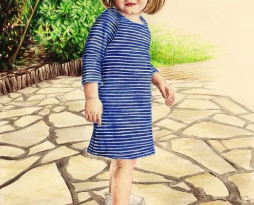 Portrait dessin d'après photo d'une petite fille au jardin