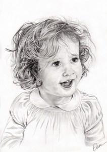 Portrait dessin d'après photo d'une petite fille aux cheveux bouclés en noir et blanc