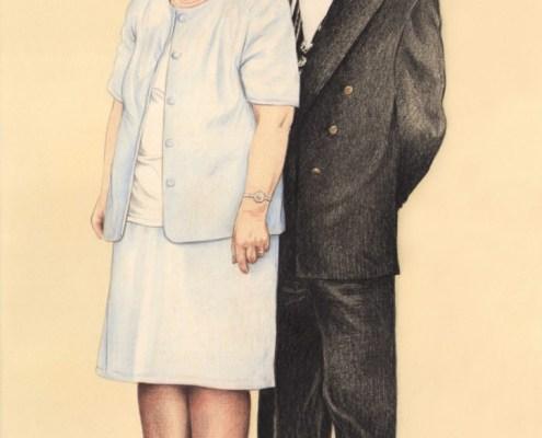 Portrait dessin d'après photo d'un couple d'âge mûr en costume