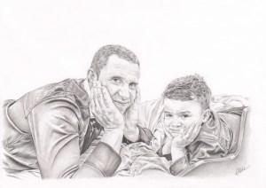 Portrait dessin d'après photo d'un père avec son fils en noir et blanc
