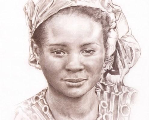 Portrait dessin d'après photo d'une femme en tenue africaine en sépia