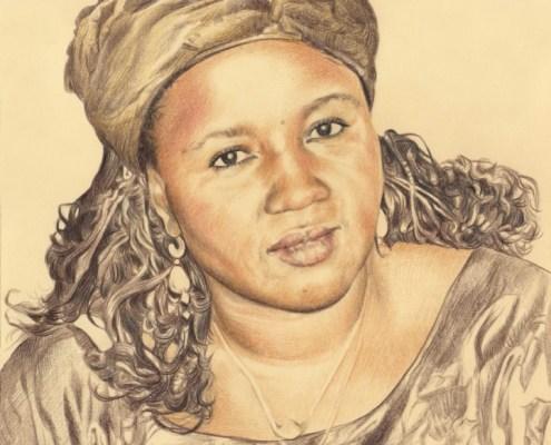 Portrait dessin d'après photo d'une femme en tenue africaine