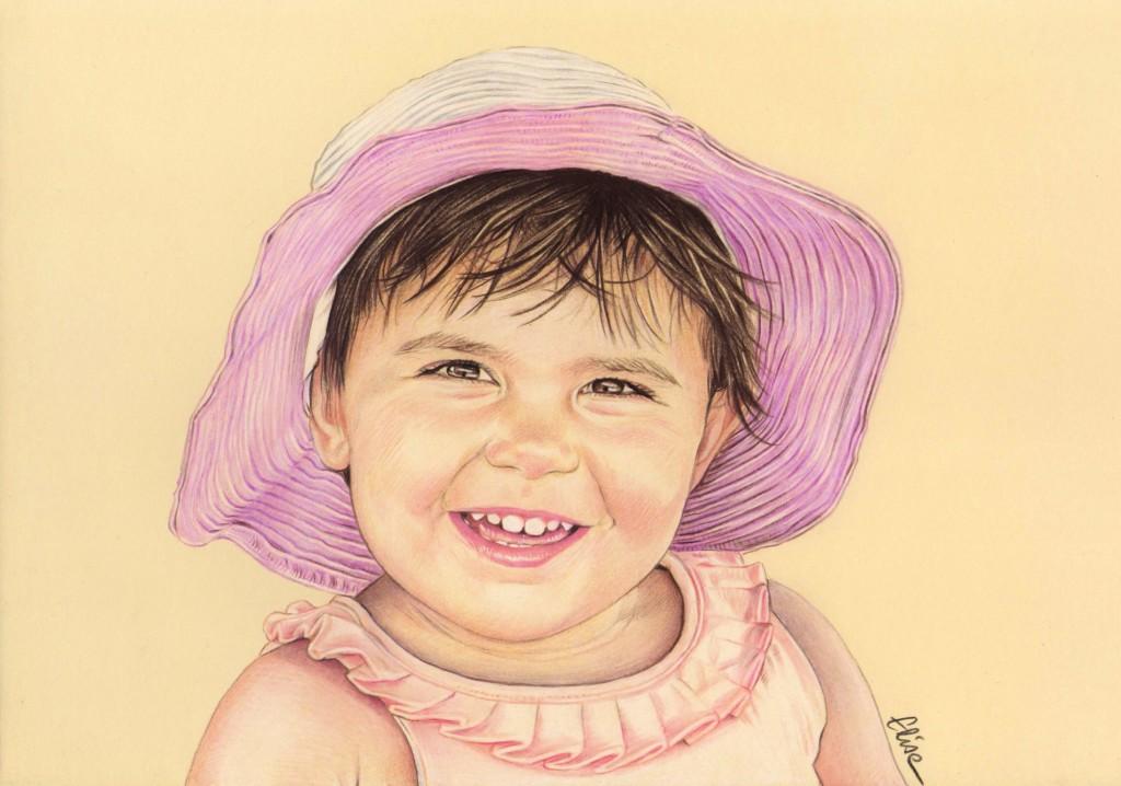 Portrait Dessin D Après Photo D Une Petite Fille Avec Un