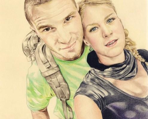 Portrait d'après photo d'un couple en randonnée