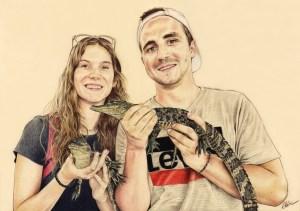 Portrait d'après photo d'un jeune couple avec des crocodiles