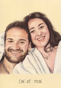 Portrait dessin d'après photo d'un couple en mode cocooning
