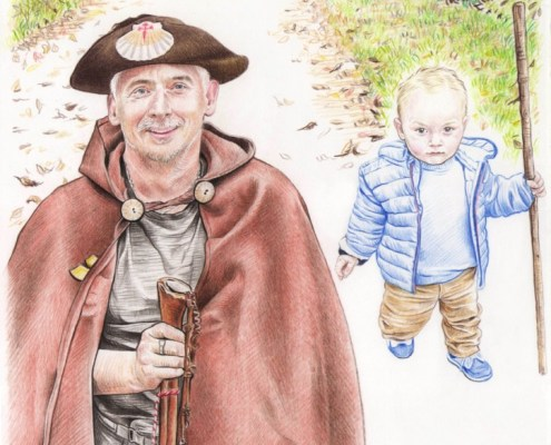 Portrait dessin d'après photo d'un grand-père et son petit-fils en pèlerinage