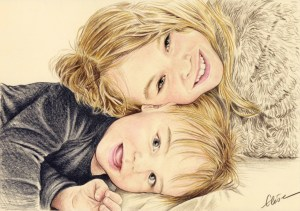 Portrait dessin d'après photo d'une petite fille et son petit frère en couleur