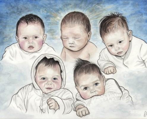 Portrait dessin d'après photo de bébés à l'aquarelle