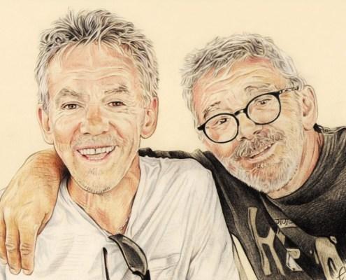 Portrait dessin d'après photo de deux hommes en couleur
