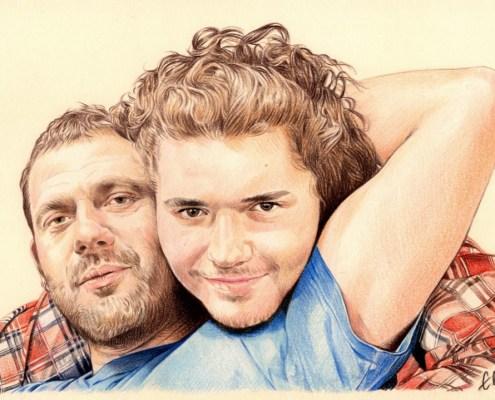 Portrait dessin d'après photo de deux frères en couleur