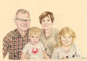 Portrait dessin d'après photo de grands-parents avec leurs petits-enfants