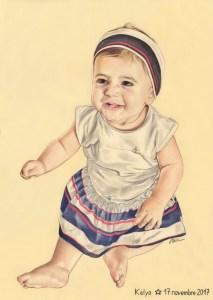 Portrait dessin d'après photo d'une petite fille en robe en couleur