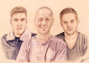 Portrait dessin d'après photo d'un père avec ses deux grands fils
