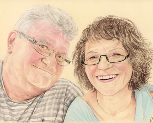 Portrait dessin d'un couple de retraités à lunettes