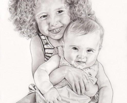 Portrait dessin d'une fillette tenant sa petite sœur