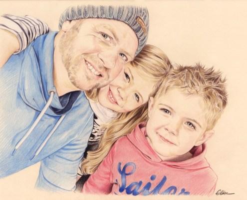 Portrait dessin d'un père avec ses deux jeunes enfants