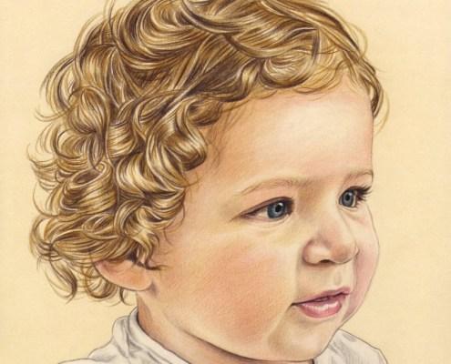 Portrait dessin d'un petit garçon aux cheveux bouclés en couleur