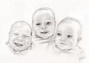 Portrait dessin de trois bébés en noir et blanc