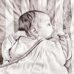 Portrait pour un faire-part de naissance en noir et blanc
