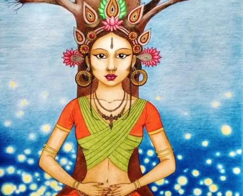 Dessin d'une déesse d'inspiration buddhiste