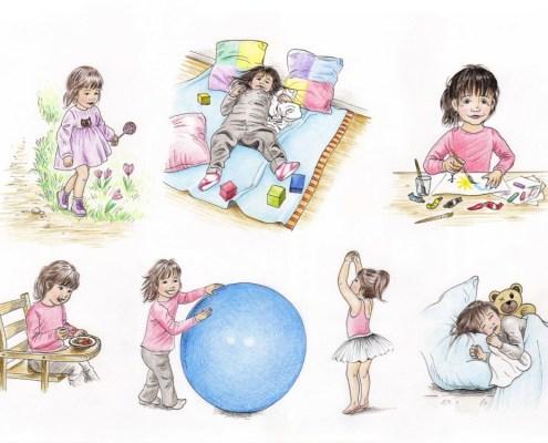 Illustrations pour un album souvenir en garderie - planche 1