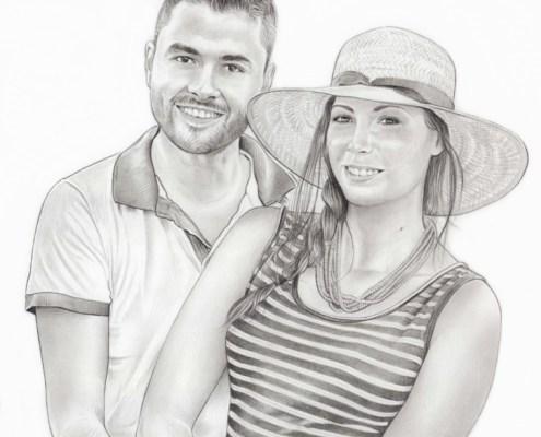 Portrait dessin d'un jeune couple enlacé en noir et blanc